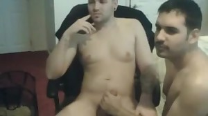 Fag unexperienced duo performing online flash