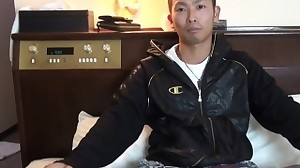 Japanese gay cums boner