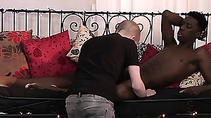 Adorable black dude Kai jerks off his cock..