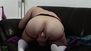 British jock fingers his ass while wanking