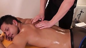 Handsome twunks cock jerked during massage