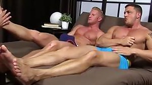 Hunky guys masturbating while they get their..
