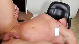 Horny manager drills a blonde office hunk on his..