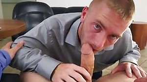 Straight office worker gives a blowjob to his boss