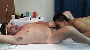 Massaged daddy plowing asian twinks booty