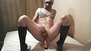 femboy hands free dildo riding orgasm