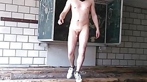 naked in abandoned classroom