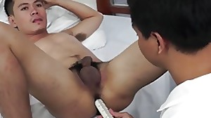 Asian doctor inspects twinks asshole
