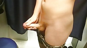 Teen cum up public fitting room
