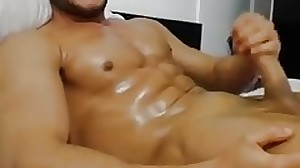 muscle boy on webcam jerking, fucking his toy..
