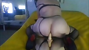 Big fat ass Shemale Nely dildo Tranny toys..