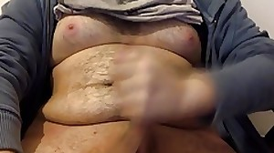 Moobs chubby jerking off