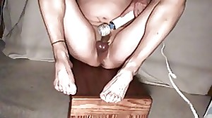 Masturbating with Magic wand vibrator until orgasm