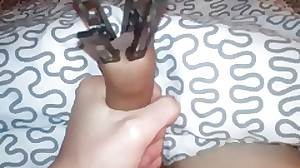 handjob and cum with clothespins on my lollipop
