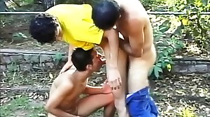 Three Brazilian boys enjoy intense sucking and..