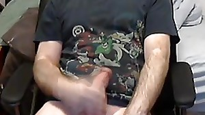 Massive cumshot on webcam